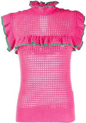 MSGM Eyelet-Knit Ruffle Top