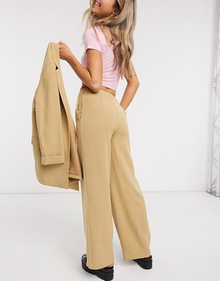 New Look wide leg tailored trouser in camel