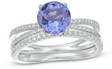 Zales Precious BrideTM 7.0mm Tanzanite and 1/4 CT. T.W. Diamond Split Shank Bridal Set in 14K White Gold