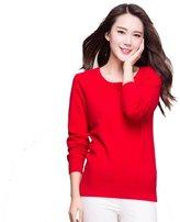 Panreddy Women's 100% Cashmere Slim Fit Crewneck Sweater L