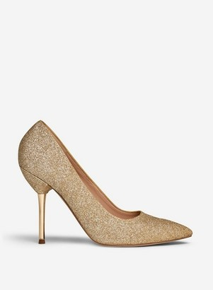 Dorothy Perkins Womens **Showcase Gold 'Berty' Glitter Court Shoes, Gold