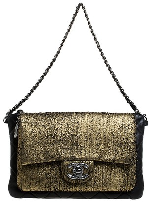 Chanel Black/Gold Leather Mineral Nights Chain Clutch