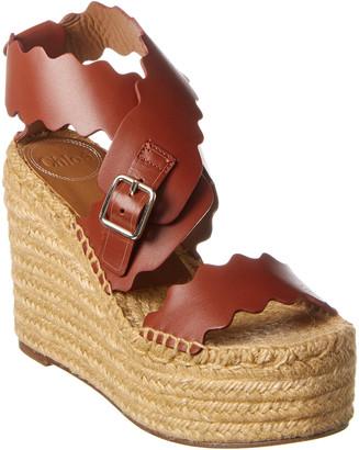 Chloé Lauren Scalloped Leather Wedge Platform Sandal