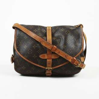 Louis Vuitton Vintage Saumur Brown Cloth Handbag