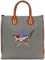 Bertoni 1949 Cotton Blend & Leather Tote Bag