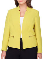 Tahari Arthur S. Levine Plus Star-Neck Crinkle-Side Jacket