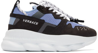 Versace Black and Blue Chain Reaction 2 Sneakers