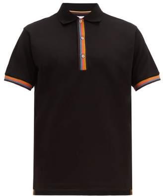 Paul Smith Artist-stripe Trim Cotton-pique Polo Shirt - Mens - Black
