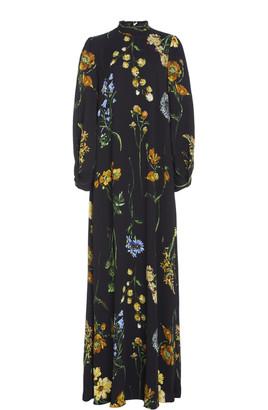 Lela Rose Floral-Print Tie-Neck Maxi Crepe Maxi Dress
