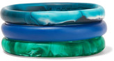Dinosaur Designs Wishbone Set Of Three Resin Bracelets - Blue