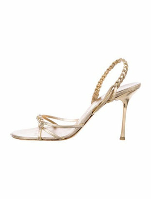 Celine Patent Leather Braided Accents Slingback Sandals Gold