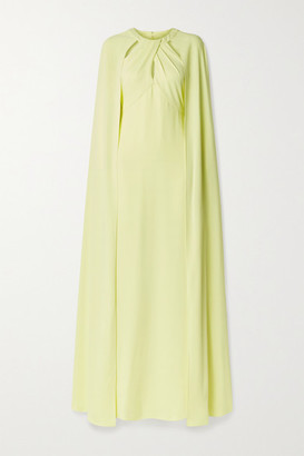 Marchesa Notte Cape-effect Cutout Crepe Gown - Pastel yellow