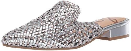 Sam Edelman Women's Clara Mule Silver/Pewter Metallic Leather 8.5 M US