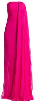 Oscar de la Renta Drape Silk Chiffon Column Gown