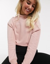 Miss Selfridge sweat with funnel neck in pink