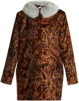 SHRIMPS Papa Puss leopard-print faux-fur coat