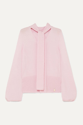 Temperley London Chime Tie-neck Cashmere Sweater - Baby pink