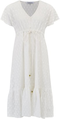 Libelula Violet Dress Fan Embroidered Cotton White