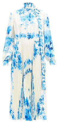Valentino Scarf-neck Pleated Floral-print Silk-twill Dress - Blue White