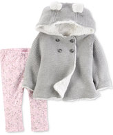 Carter's 2-Pc. Hooded Sweater Jacket & Printed Leggings Set, Baby Girls (0-24 months)