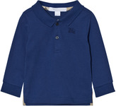 Burberry Marine Blue Palmer Jersey Long Sleeve Polo