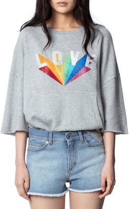 Zadig & Voltaire Kaly Lobe Rainbow Love Sweatshirt
