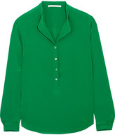 Stella McCartney Eva Silk Crepe De Chine Blouse - Green