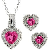 Gem Stone King 4.07 Ct Heart Shape Pink Mystic Topaz 18k White Gold Pendant Earrings Set