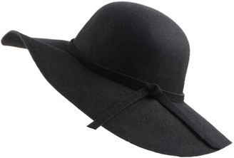 Urban CoCo Women's Foldable Wide Brim Felt Bowler Fedora Floopy Wool Hat - Black - One Size