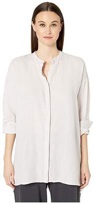 Eileen Fisher Organic Handkerchief Linen Mandarin Collar Boxy Shirt (Ceramic) Women's Clothing
