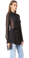 DKNY Collared Half Button Shirt with Sheer Back