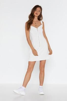 Nasty Gal Womens Keep It to Yourself Corduroy Zip Dress - white - 6