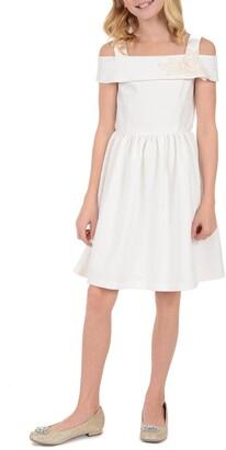 Badgley Mischka Cold Shoulder Jacquard Dress