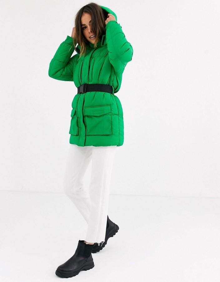 Brave Soul tayla belted padded coat