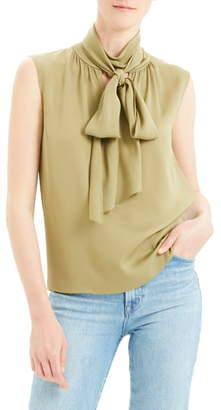 Theory Scarf Tie Sleeveless Stretch Silk Blouse