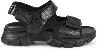 Roberto Cavalli Firenze Snakeskin-Print Leather Sandals