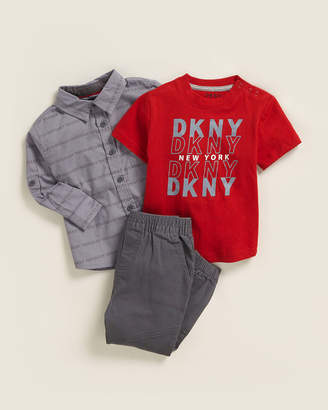 DKNY Infant Boys) 3-Piece Allover Logo Tee & Joggers Set