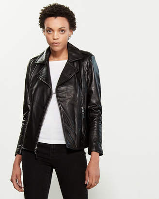 Lauren Ralph Lauren Black Leather Moto Jacket