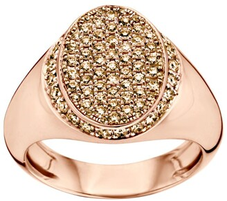 Bare Fine Rose Gold and Diamond SIGNET Classic Ring