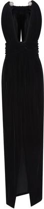 Oscar de la Renta Plunging Neck Crystal-Embellished Gown