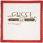 Gucci White and Red Silk Future Logo Scarf