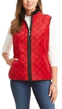 Karen Scott Sport Printed Sherpa-Trim Vest, Created for Macy's
