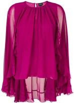 Giambattista Valli cape style ruffle blouse