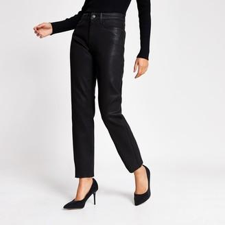 River Island Womens Black coated straight leg jeans