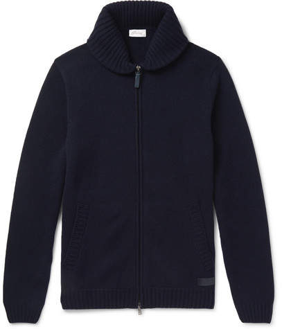 Brioni Shawl-Collar Cashmere Zip-Up Cardigan