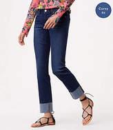 LOFT Petite Curvy Cuffed Straight Leg Jeans in Pure Dark Indigo Wash