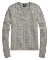 Ralph Lauren Cable Cashmere V-Neck Sweater Fawn Grey Heather Xs