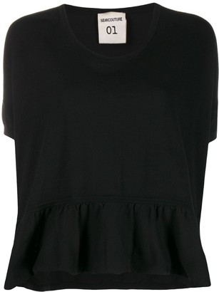 Semi-Couture ruffled hem T-shirt
