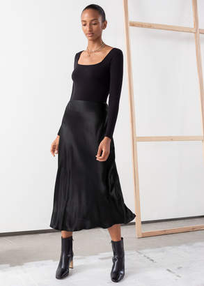 And other stories Bias Cut Satin Midi Skirt