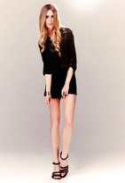 Bibbed Romper with Piping in Black - by Twelfth St. by Cynthia Vincent
